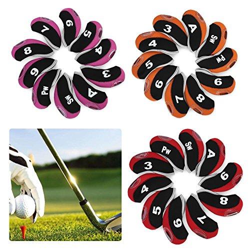Fundas de Hierros de Golf,10Pcs Cubiertas de Club de Golf Funda reemplazo para Cabeza de Hierro de Club de Golf Neopreno Set de Putter de Funda Protectora Impermeable(Noir Rouge + numéro.)