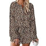 First Ring Conjunto de pijama corto de 100% algodón para mujer con estampado de...