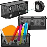Mesh Magnetic Storage Baskets - Set of 3 (Black) with Anti-Slip Feature and Strong Magnets - Magnetic Locker Organizer and Pencil Holder for Whiteboard and Refrigerator (Black-3 pcs)