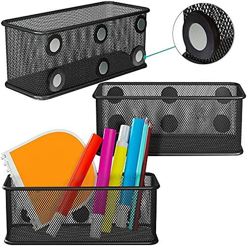Mesh Magnetic Storage Baskets - Set of 3 (Black) with Anti-Slip Feature and Strong Magnets - Magnetic Locker Organizer and Pencil Holder for Whiteboard and Refrigerator (Rectangular)