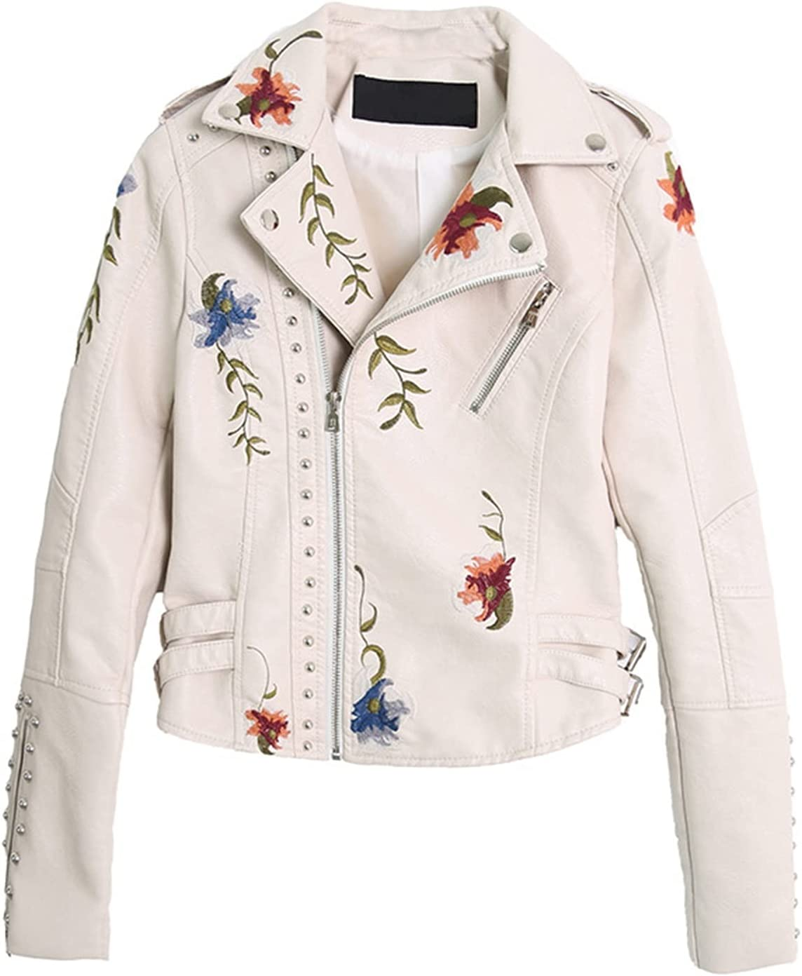 safety Womens Long Sleeve Floral Embroidered J Large discharge sale Collar Turn-Down Leather