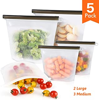 Reusable Silicone Food Storage Bags - 5 Pack Dishwasher Microwave Freezer Safe Ziplock Leakproof Bag Containers Gallon for Snack Fruit Vegetable Sandwich Lunch Milk Size 2pcs Large & 3pcs Medium