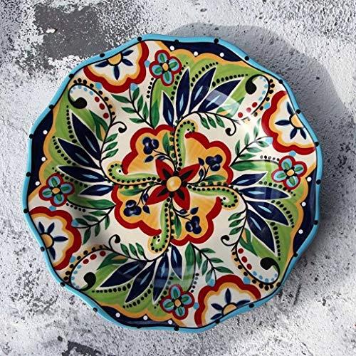 NO BRAND Inicio vajilla 8.66in Placa de cerámica Pintada a Mano Americana de Restaurante Placa de Ensalada Fruta de la Cocina de Caramelo Melón Familia