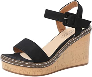 d119e7fa Sandalias Mujer Verano,Mujeres pescado boca plataforma tacones altos  sandalias cuña hebilla sandalias de la