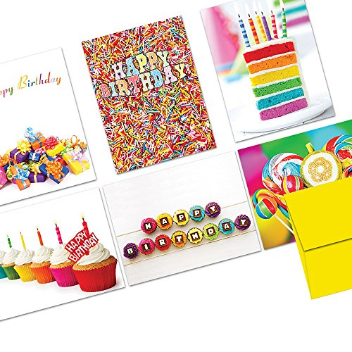 Note Card Cafe Happy Birthday Card Assortment with Yellow Envelopes | 72 Pack | Colorful Birthday Designs | Blank Inside, Glossy Finish | Bulk Set for Greeting Cards, Occasions, Birthdays