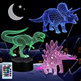 3D Dinosaur Night Light, VSATEN 3D Illusion Lamp Three Pattern and 7 Color Change Decor Lamp with Remote Control for Living Bed Room Bar, Best Gift Toys for Boys Girls (3 Packs)