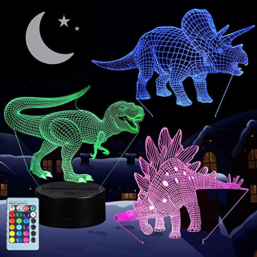 3D Dinosaur Night Light for Kids, VSATEN 3D Illusion Lamp 3-Pattern & 16 Colors Change Decor Nightlight with Remote Control for Living Bed Room Bar, Best Dinosaur Toys Gifts for Boys Girls (3 Packs)