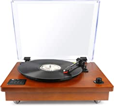 1byone Belt Driven Turntable with Built in Stereo Speaker, Wireless Connection Vintage..