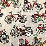 Stoff Meterware Baumwolle ecru Fahrrad Rad Räder bunt