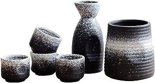 BB&ONE Japanisches Sake-Wein-Set – Keramik Weisswein Antiquitäten Weinkeller Töpfe für den Haushalt – Gratis Weinstopfen 5-teiliges Set