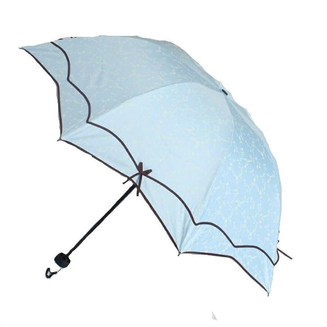 非常に契約切手Spinas(スピナス) 日傘 晴雨 兼用 折りたたみ UV カット 女性 リボン かわいい オシャレ コンパクト 収納 遮光 レディース 女性 全5色 ピンク グリーン ホワイト ブラック 水色 (水色)