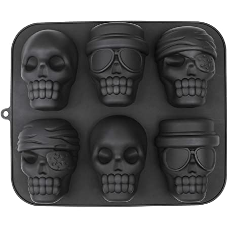 webake Moule à gâteau en silicone pour Halloween - Motif tête de mort - Noir
