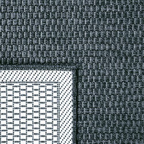 Tapis Intérieur & Extérieur Terrasse Et Balcon Monochrome Structuré, Dimension:80x200 cm, Couleur:Bleu Marine