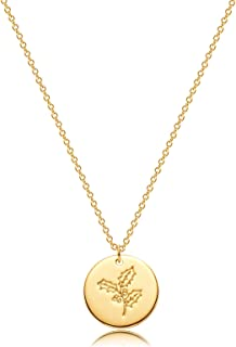 Bemoly Women Flower Necklace Dainty Personalized Carved Disk Birth Month Flower Necklace 14K Gold Plated Simple Chain Roun...