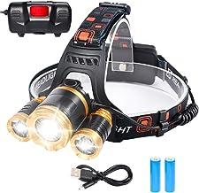 Flintronic Led-hoofdlamp, 4 Modos led-hoofdlamp, 6000 K, 1200 lumen, oplaadbaar, USB-hoofdlamp, hoofdlamp voor kinderen, w...