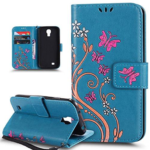 Kompatibel mit Galaxy S4 Mini Hülle,Galaxy S4 Mini Schutzhülle,Bunte Gemalt Prägung Schmetterlings Blumen PU Lederhülle Flip Hülle Cover Ständer Wallet Tasche Hülle Schutzhülle für Galaxy S4 Mini,Blau