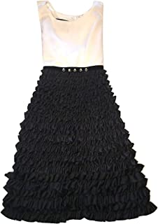 Girls Colorblock Ruffled Special Occasion Sleeveless Dress in Black/White