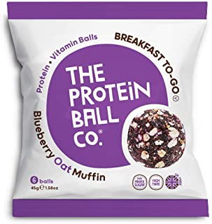 The Protein Ball Co. Breakfast To Go Protein and Vitamin Blueberry Oat Muffin Protein Balls, 45 g