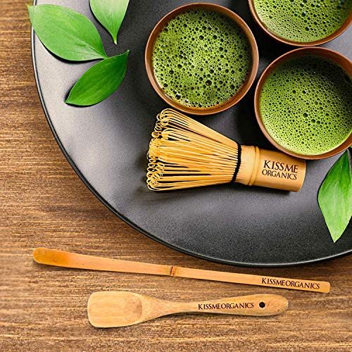 Matcha Whisk, Spoon, and Scoop - Matcha Tea Set - Perfect for a Traditional Cup of Matcha - Matcha Bamboo Accessories By Kiss Me Organics