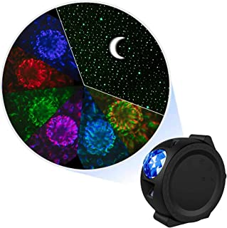 LED Sky & Ocean Projector Night Light Color Changing Water Wave Starry Lamp with Moon & Star for Bedroom Ceiling, Party, Relaxing, Children Birthday Gift - Black
