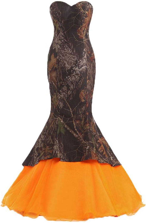 Snowskite Womens Sweetheart Mermaid Camo orange Wedding Bridal Dress