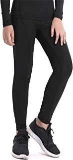 QCHENG Boys & Girls Compression Tights Sport Leggings Base Layer Soccer Hockey Thermal Pants for Kids