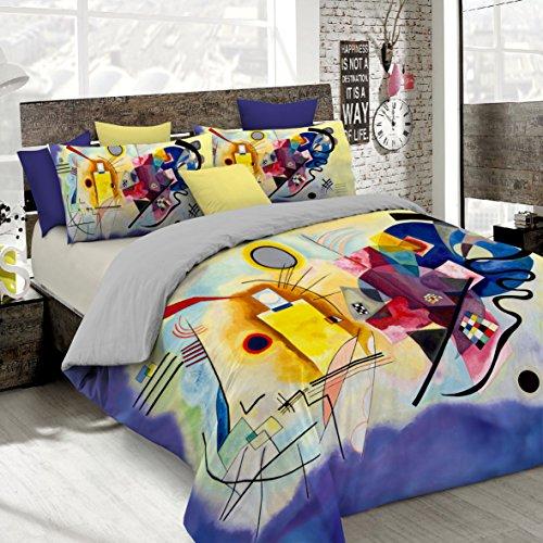 Italian Bed Linen Parure Copripiumino con Stampa Digitale a Copertura Totale Sul Sacco e Sulle Federe 2 Posti 100% Cotone, Multicolore (SD57), 250x200x1 cm