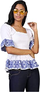 Rena Love White Smocked Embroidery Top