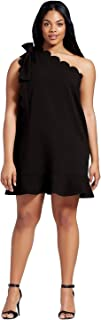 Women's One Shoulder Dress with Bow and Scallop Trim