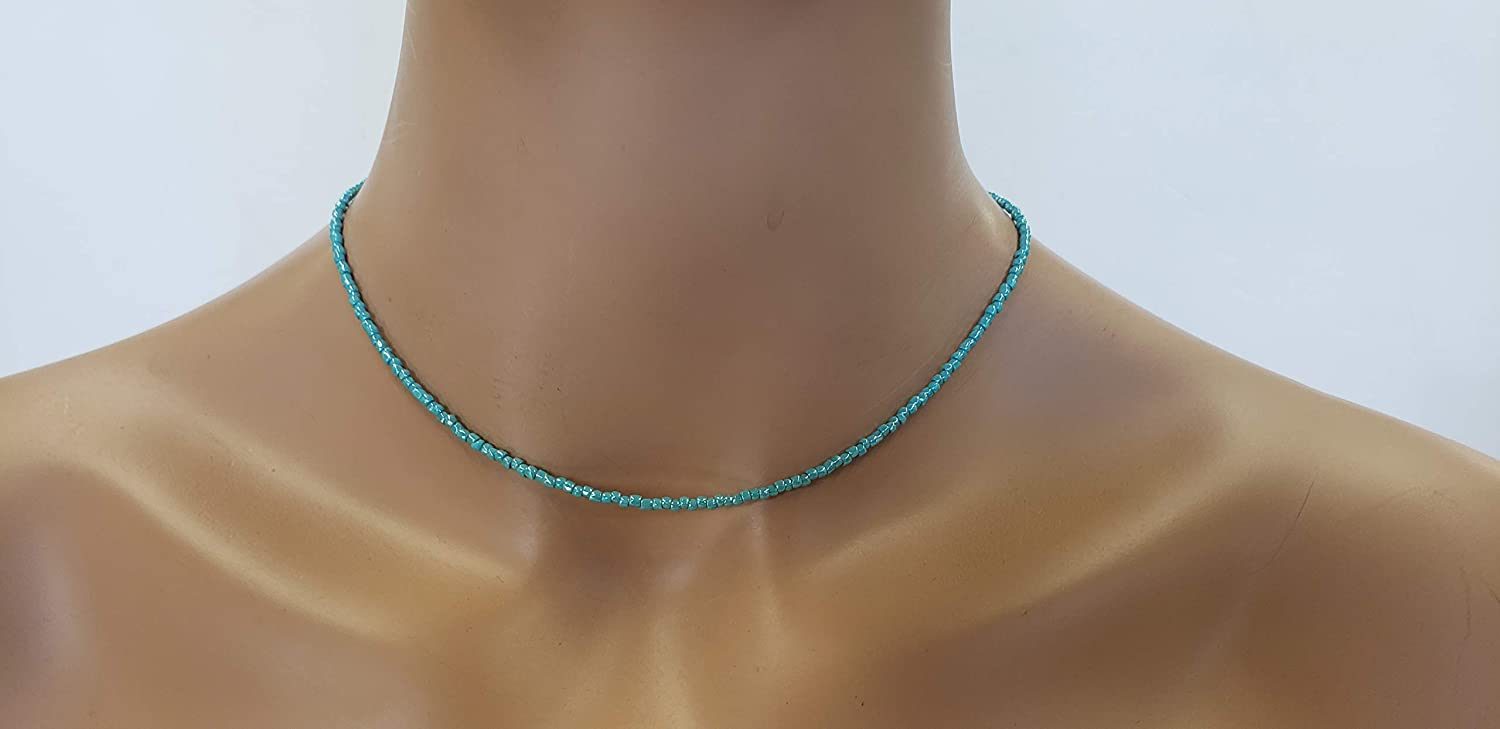 Dainty Turquoise Glass Beads Necklace 16 Sterl Tiny Inches ...