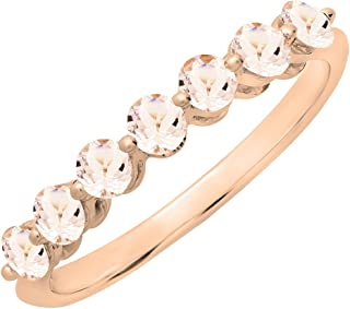 10K Round Morganite Ladies 7 Stones Wedding Band Ring, Rose Gold
