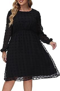 Womens Dot Chiffon Dress Plus Size Elegant Midi Casual Party Long Lantern Sleeve Dresses