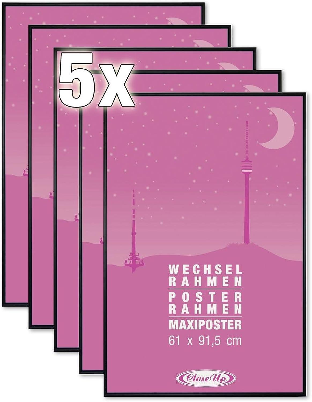 Close Up Posterrahmen 5er Set, Bilderrahmen 61 X 91,5cm, Schwarz für Groformatige Poster - Scheibe aus unzerbrechlichem PVC