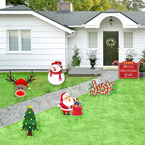 JOZON Pack of 6 Christmas Yard Signs with Stakes Xmas Winter Decorations for Lawn Yard Signs for Holiday Outdoor Decorations