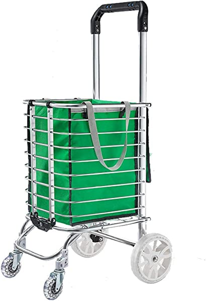 HYYK Trolley Cart Aluminum Frame Stylish Multi Function Portable Small Trailer For Supermarket Market Shopping Green