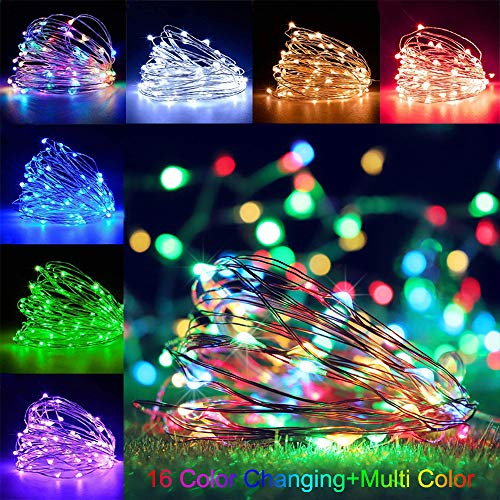 100LEDs 33Ft LED Fairy Lights Battery Operated Outdoor LED String Lights with Remote, 16 Color Changing Lights Twinkle Firefly Lights for Bedroom Party Wedding Christmas, Patio