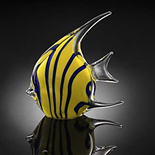 SPI Home Art Glass Yellow Angel Fish