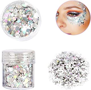 Yeaphy Glitter Sequin Chunky Glitter Face Nails Eyes Lips Hair Body Make Up Glitter Paillette Music Festival Masquerade Halloween Party Christmas Ball