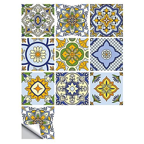 Heroicn Pegatinas de Azulejos de la Pared Peel and Stick - 10 unids Autoadhesivo Afiliario Atrás Vigilancia de Azulejos para Cocina Decoración de Baño, Mandala Colorido Patrón de Flor Pega