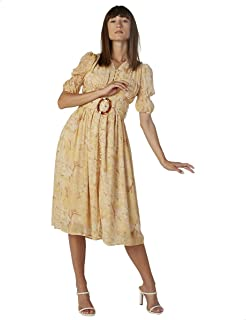 2Xtremz Floral Pattern Short Sleeves V Neck with Belt Dress for Women XL