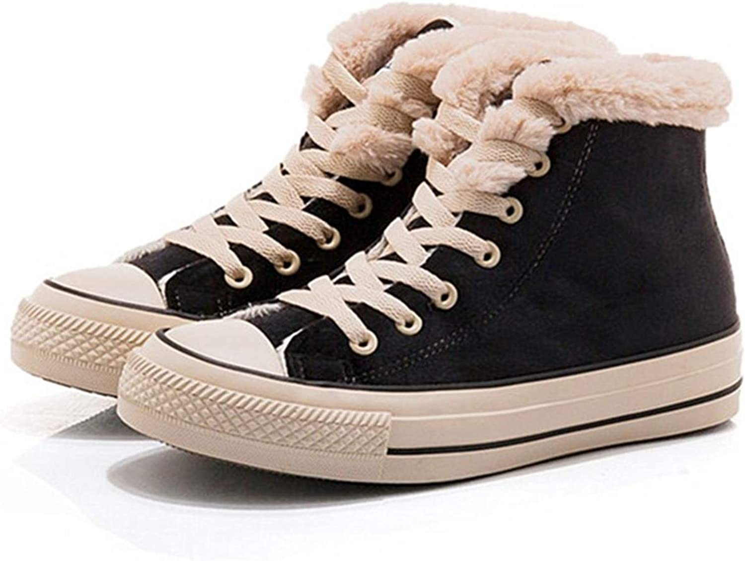 JUSTFASHIONNOW Womens Girl Canvas shoes Lace-Up Suede Sneaker Hight Top Fashion Walking shoes Platform Warm Round Toe Comfy Ankle Snow Boots