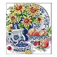 クロスステッチ刺繍キット 38x42cmヒマワリの花瓶半クロスステッチ。 印刷クロスステッチ 家庭刺繍装飾品 フレームがない