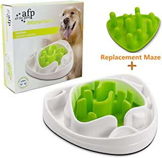 ALL FOR PAWS Interactive Food Maze Fun Slow Feeder Dog Bowl with 2 Interchangeable Mazes