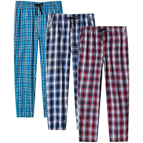 MoFiz Herren Lange Pyjamahose Weich Schlafanzughose Baumwolle Freizeithose Loungewear 3 Pack M