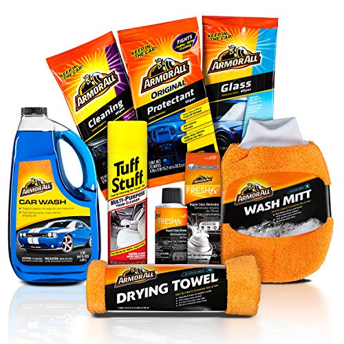 Armor All Car Wash and Cleaner Kit (8 Items) - Includes Interior Cleaning Wipes, Concentrate, Air Freshener, Towels, 19122