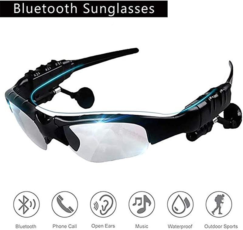 Sunglasses With Bluetooth Headset TechCode 2 In 1 Stereo Wireless Handsfree Headphone Sunglasses Sport Music Driving Earphones Sun Riding Glasses Headset Great For IOS Android Man Woman Clear