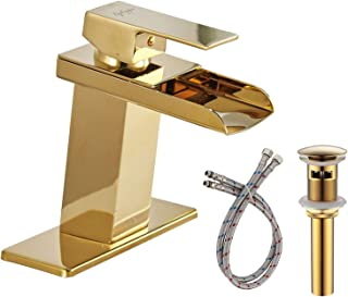 BWE Waterfall Bathroom Sink Faucet Gold Single Handle One Hole Deck Mount Lavatory Commercial