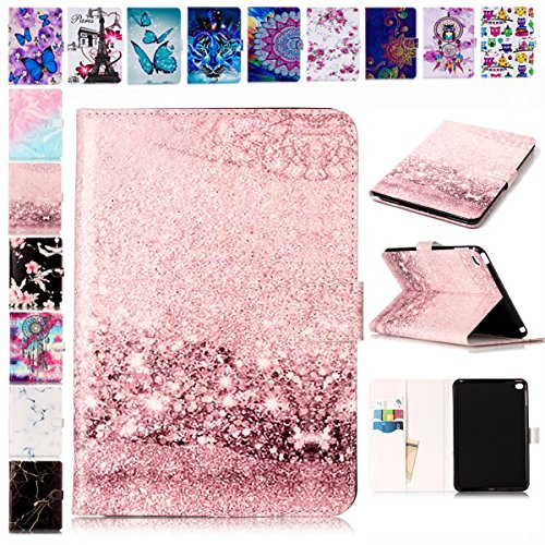 E-Mandala Samsung Galaxy Tab A SM-T580/T585 (2016) Hülle Leder Flip Case Tablet PC Tasche mit Kartenfach Ledertasche Lederhülle - Rose Gold