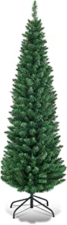 Goplus 6FT Pencil Christmas Tree, 400 Branch Tips, Premium PVC Needles, Artificial Slim Christmas Tree w/Sturdy Metal Stand, Unlit Christmas Tree for Home, Office, Shops, and Hotels
