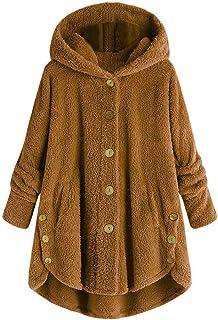 Geilisungren Damen Flauschige Mantel Große Größen Winterjacke mit Kapuze Frauen Mode Langarm Knopf Plüschmantel Warme Wint...